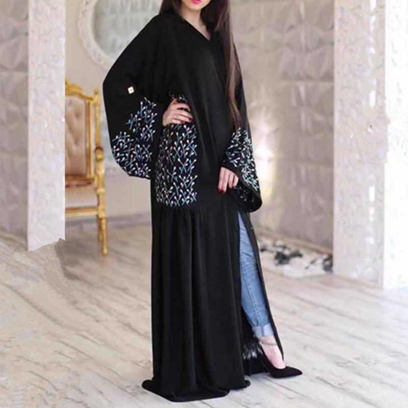 黒アバヤローブドバイトルコヒジャーブイスラム教のドレス女性のためのカフタン Abayas カフタン Marocain イスラム服ラマダンの Elbise Giyim