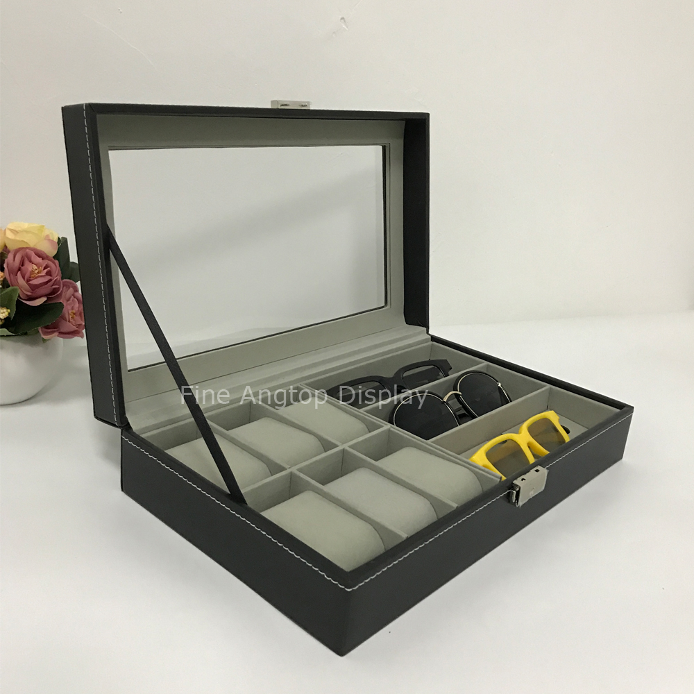PU Leather Glasses Storage Sunglasses Display Watch Organizer Eyewear Jewelry Display Box Rack Shelf mordoa 12pcs glasses storage display case box eyeglass sunglasses optical display organizer frames tray 3d glasses display rack