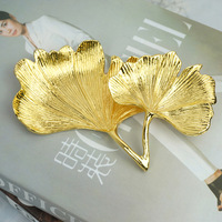 Nordic creative metal Ginkgo leaf jewelry plate Gold Ring storage jewelry tray home furnishings decorative