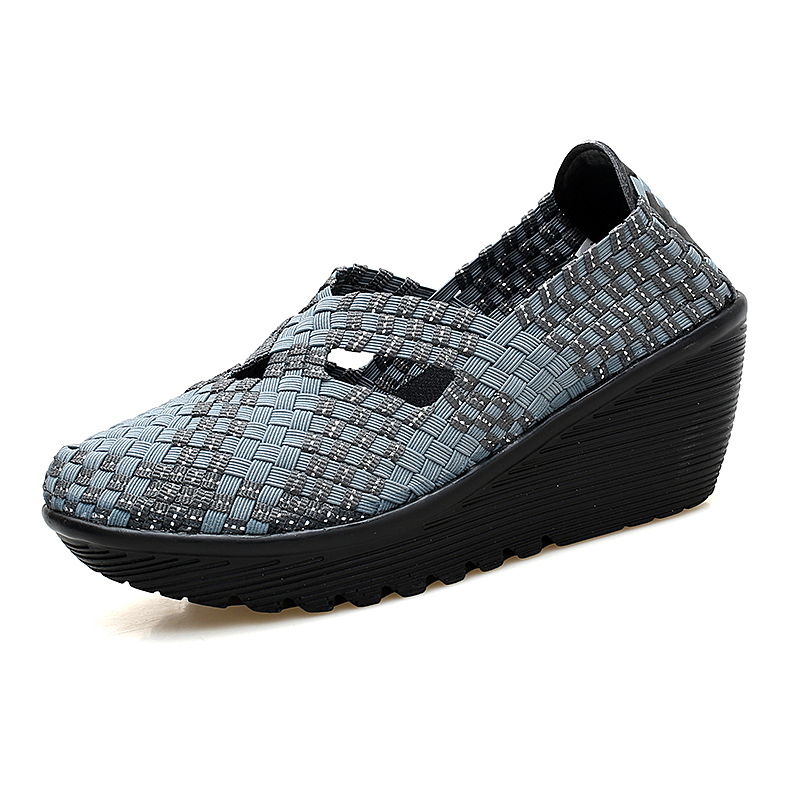 DQG 2018 Spring Woven Women shoes Casual Slip On Ladies Zapatillas Flat Platform Shallow Zapatos Mujer Flats Chaussures Femme cresfimix zapatos women cute flat shoes lady spring and summer pu leather flats female casual soft comfortable slip on shoes