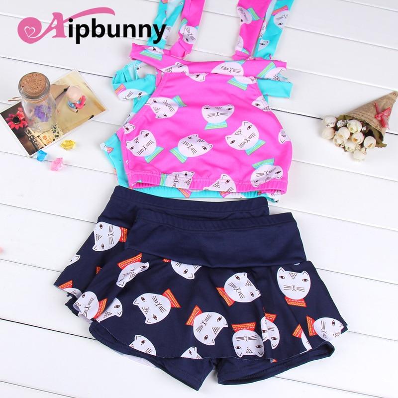 Funny Shorts Halter Bikini Swimsuits Printed Tankini Beach Baby Cat Swimwear Tops Suit Girls Black Summer 2018