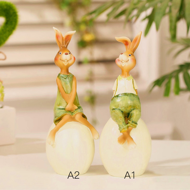 Home Decor Rabbit Lovers Easter Rabbits Bunny Green Statues Garden Small Resin Craft Us Country Style