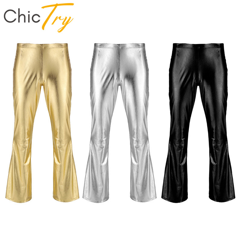 ChicTry Adult Shiny Metallic Disco Pants Male Long Flare Pants Trousers Men Club Festival Rave Stage Ballroom Jazz Dance Costume