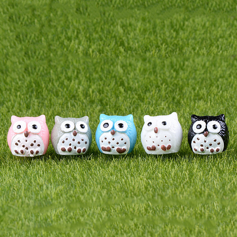5Pcs Synthetic Animal Owl Miniature Fairy Backyard Residence Homes Ornament Mini Craft Micro Landscaping Decor Diy Equipment