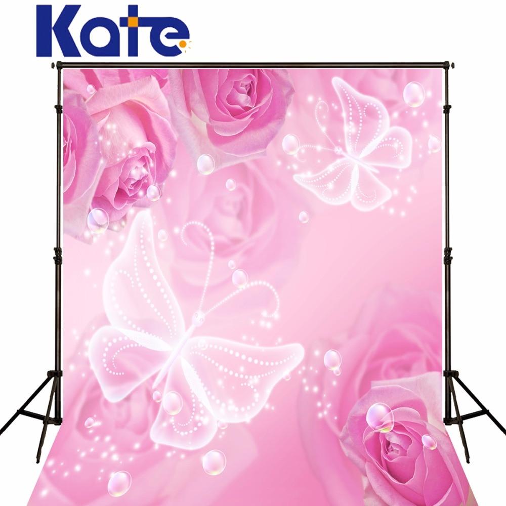 Fond de photographie Kate thème joyeux anniversaire fond rose fleurs rose papillon blanc pour nouveau-né Photo Studio