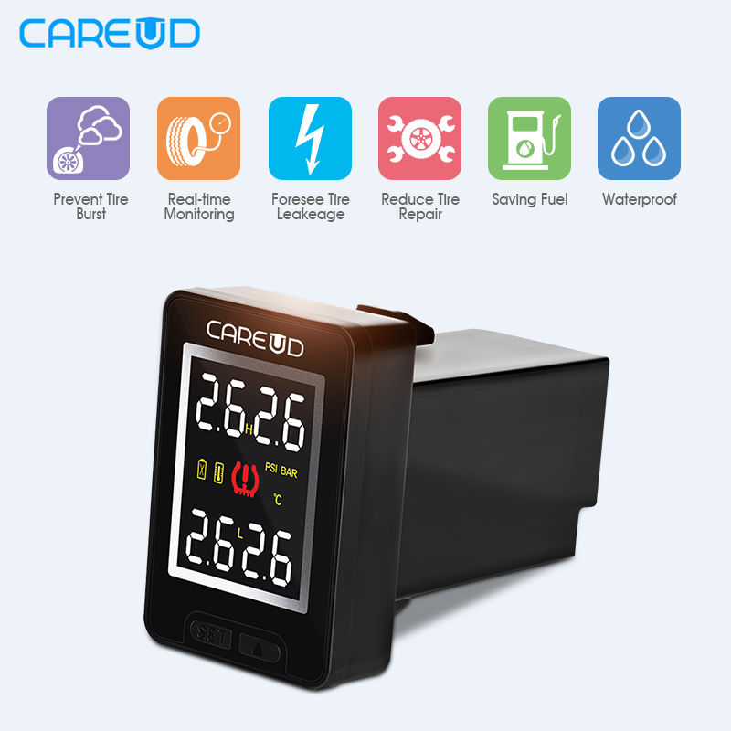 все цены на CAREUD U912 TPMS Wireless Auto Car Tire Pressure Monitoring System + 4 Sensors LCD Embedded Monitor For Honda For Toyota