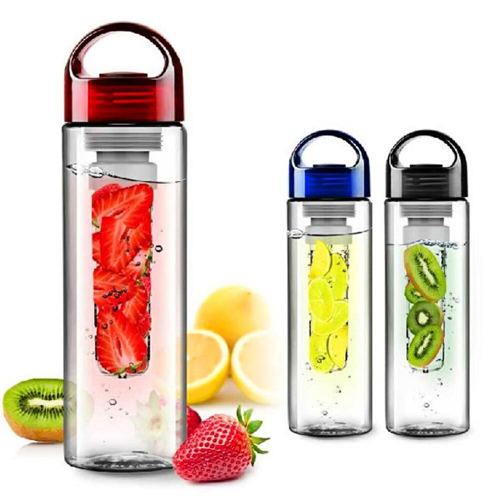 Eco-friendly Fruit Infusing watter bottle Lemon Juice Maker 700ml cap Fruit Infuser bike travel school BPA Sports Health