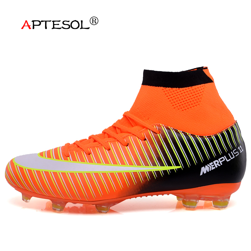 APTESOL High Ankle Socks Boots FG Soccer Shoes for Men Youth Kids Outdoor High Top Spike Football Boots Soccer Cleats Sneakers цена