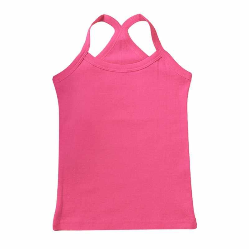 קיץ ילדי בנות אפוד תחתוני Camisoles שרוולים תינוקת טנקי חולצות תחתוני ילדי מסורק כותנה 7 Colorsest