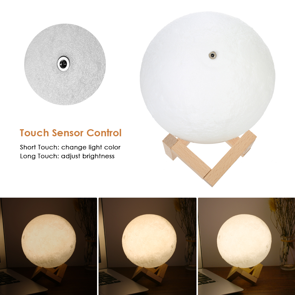 New 3D Printing Moon USB Light 2-Colors Dimmable Touch Sensor 9/10/12/14/15/18cm Bedroom Decor Night Lamp with Wooden Stand