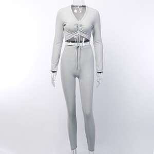 Image 5 - Hugcitar v 넥 긴 소매 섹시한 자르기 탑스 바지 2 2 개 세트 2019 가을 겨울 여성 streetwear t rhist trousers tracksuit