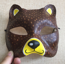 New Quality Handmade DIY Mask Halloween Small Brown Bear Mask Cosplay Costume Paper Mache Pulp Mask