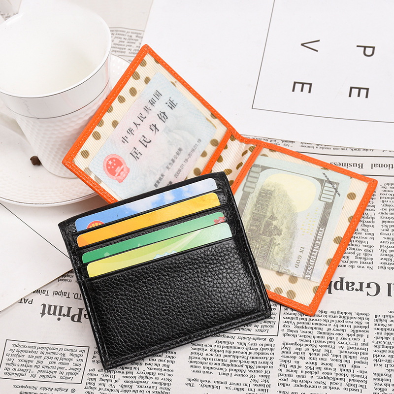 Fashion Genuine Leather Credit Card Holder for Women Man Small ID Cards Wallet Large Capacity Simple Business Card Organizer