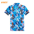 VICVIK Mens de la Marca Casual Camisa de Manga Corta de Verano Superior Masculina Ropa Coconut Tree Style Plaid Floral Camisa de la Tapa