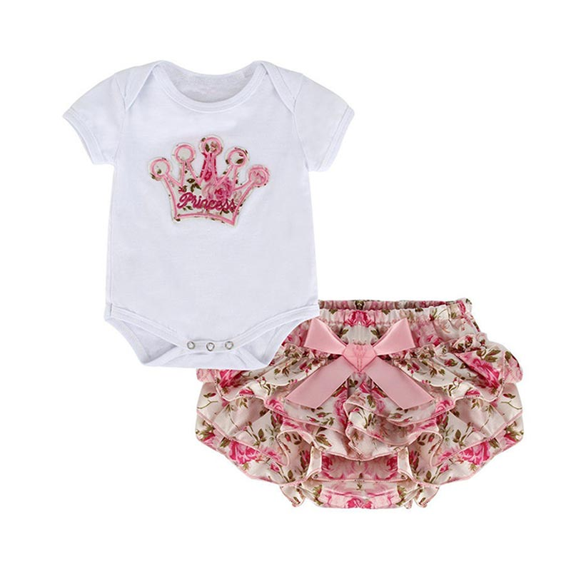 Summer Baby Girl 2 Piece Set Romper Short Sleeve Crown Printed Infant Baby Jumpsuit Floral Skirt Suit For 0-1 Year Girl @ZJF 3pcs set newborn infant baby boy girl clothes 2017 summer short sleeve leopard floral romper bodysuit headband shoes outfits