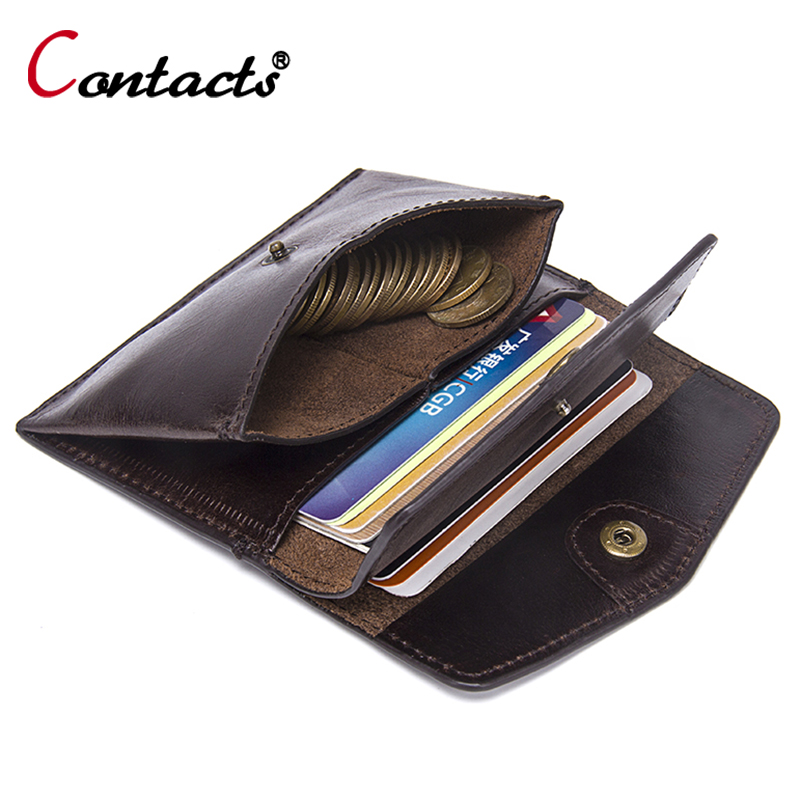 CONTACT'S Men wallet Genuine Leather Small Coin Purse Women Mini Coins Bags Slim Wallet coin purse Credit & ID Card Holder New joyir vintage men genuine leather wallet short small wallet male slim purse mini wallet coin purse money credit card holder 523