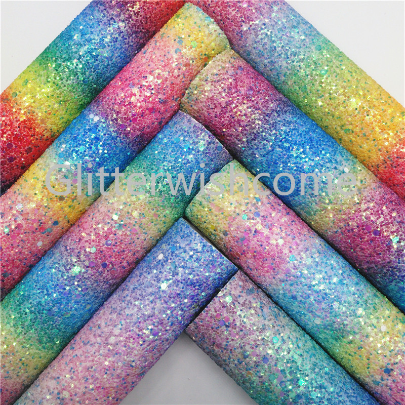 Glitterwishcome 21X29CM A4 Size Glitter Fabric, Rainbow Chunky Glitter Leather, Faux PU Leather Fabric Vinyl For Bows, GM411A