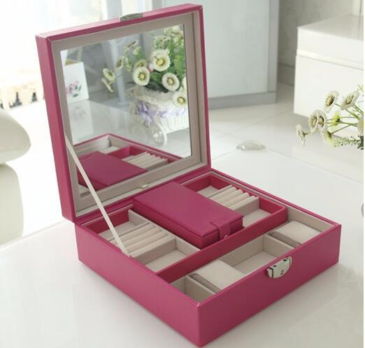 free shipping 25*25*8.5cm rose red high grade double layer jewelry storage box