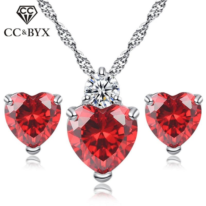 CC Sets Jewelry For Women Heart Cubic Zirconia Classic Simple Necklaces Pendants Stud Earrings Set Bridal Wedding Bijoux CCAS203