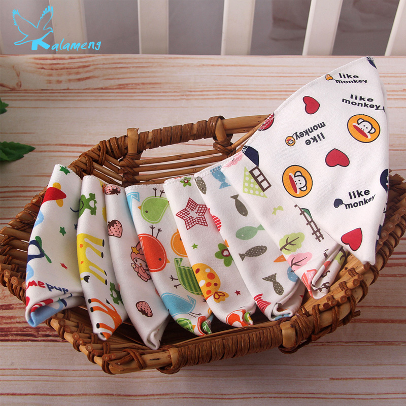 Kalemeng Double Cotton Bibs Baby Triangle Scarf Baby Bib Cartoon Printing Bibs