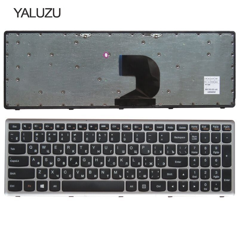 YALUZU russian laptop keyboard for <font><b>LENOVO</b></font> <font><b>Z500</b></font> Z500A Z500G series RU layout with silver frame notebook replace laptop Keyboard image