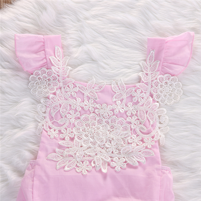 Newborn Baby Girls Lace Floral Clothes Romper Flower Pink Jumpsuit Headband Outfits Baby Clothing Sunsuit 0-18M