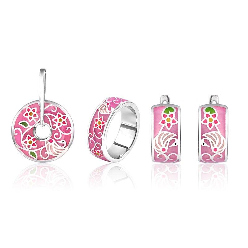 Wholesale Flower Enamel Silver Stud Earrings Pendant Ring Jewelry Sets Women 925 Silver Jewelry Set Wedding Engagement Jewelry (2)
