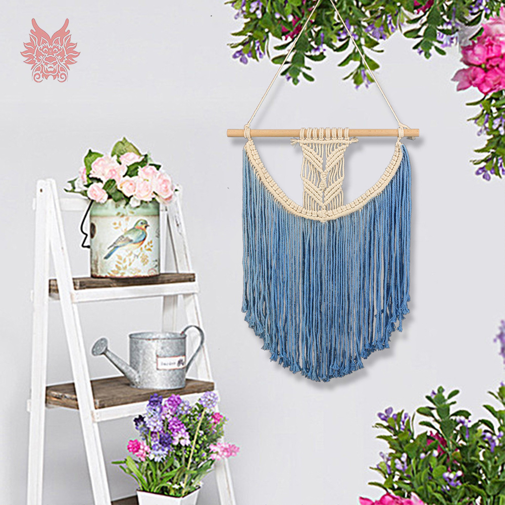 Home decor blue tassel bohemian wall hanging tapestry cotton hand weaving hollow out tapisserie murale tapiz pared SP5644 image