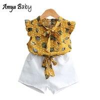 AmyaBaby Kids Girl Clothes 2018 Toddler Girls Clothing Set Chiffon Floral Tops Pants 2pcs Girls Summer