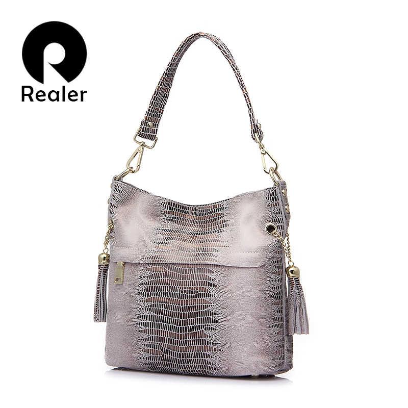REALER сумка женская через плечо из натуральной кожи, маленькая сумочка для  женщин, женские кожаные db6be8aeac8