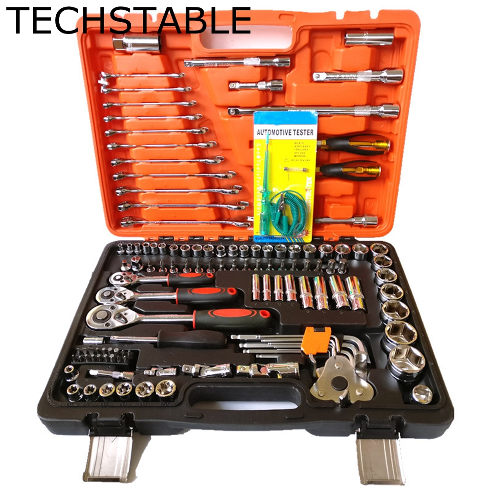 TECHSTABLE Car Repair Tool Sets Combination Tool Wrench Set 121 PCS Batch Head Ratchet Pawl Socket Spanner Screwdriver yofe combination wrench canvas bag 6pcs set spanner wrench a set of key ratchet skate tool gear ring wrench ratchet handle tools