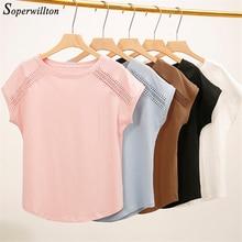 Хлопковые летние блузки, кружевные рубашки с рукавом летучая мышь для женщин, топы, рубашки размера плюс, женская одежда в Корейском стиле, женские блузы# B65