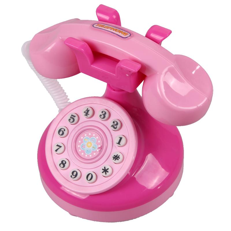 Plastic Pink Phone Toy Educational Emulational Phone Toys Pink Phone Pretend Play Toys Girls Toy Gifts Electronic Toy Phone Gift