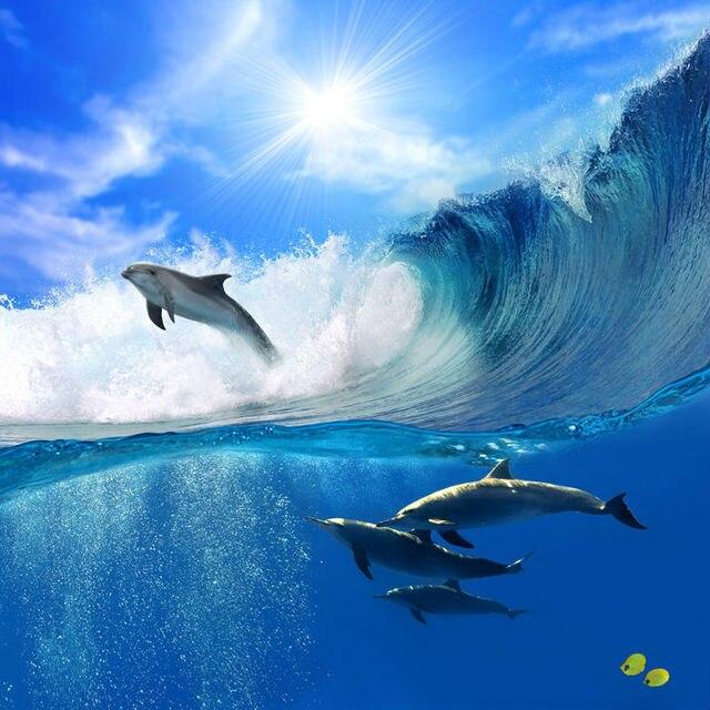 Ocean Dolphin Wallpaper Custom 3D Wall Murals Underwater World Photo  Wallpaper Kid Interior Bedroom Room Decor