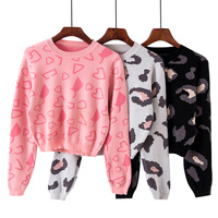 Leopard Sweater Women Crop Top Sweater Pull Femme Hiver Pullover Christmas Jumper 2018 Korean Knitted Sweaters Winter Clothes