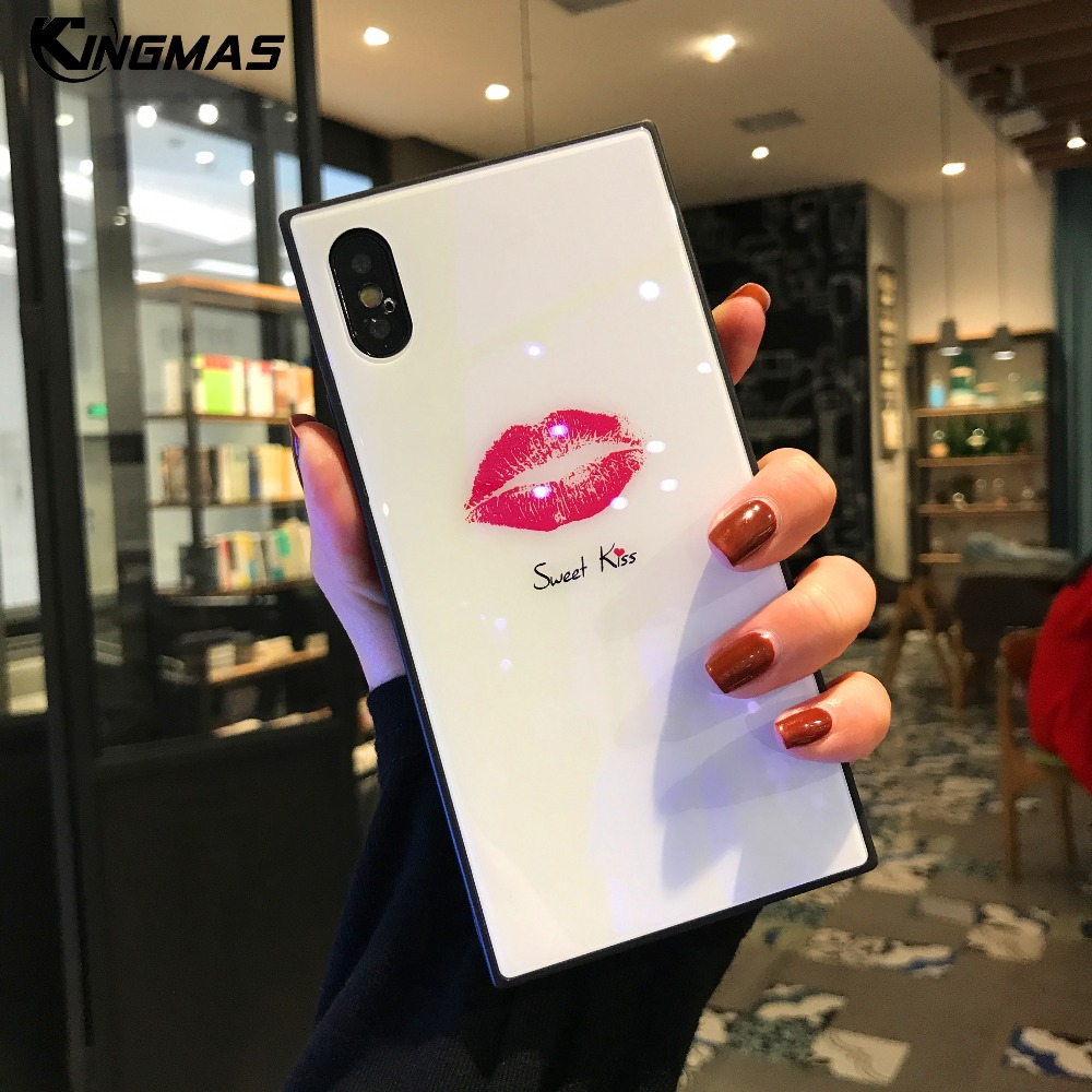 For iPhone X 7 8 Plus Luxury blue light Square Glass Phone Case For iPhone 6 6S Plus shell girl cute kiss Pattern cover Coque