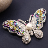 pearl brooches butterfly Micro color inlay zircon shawl buckle deserve to act the role of female brooch brooch pin suit