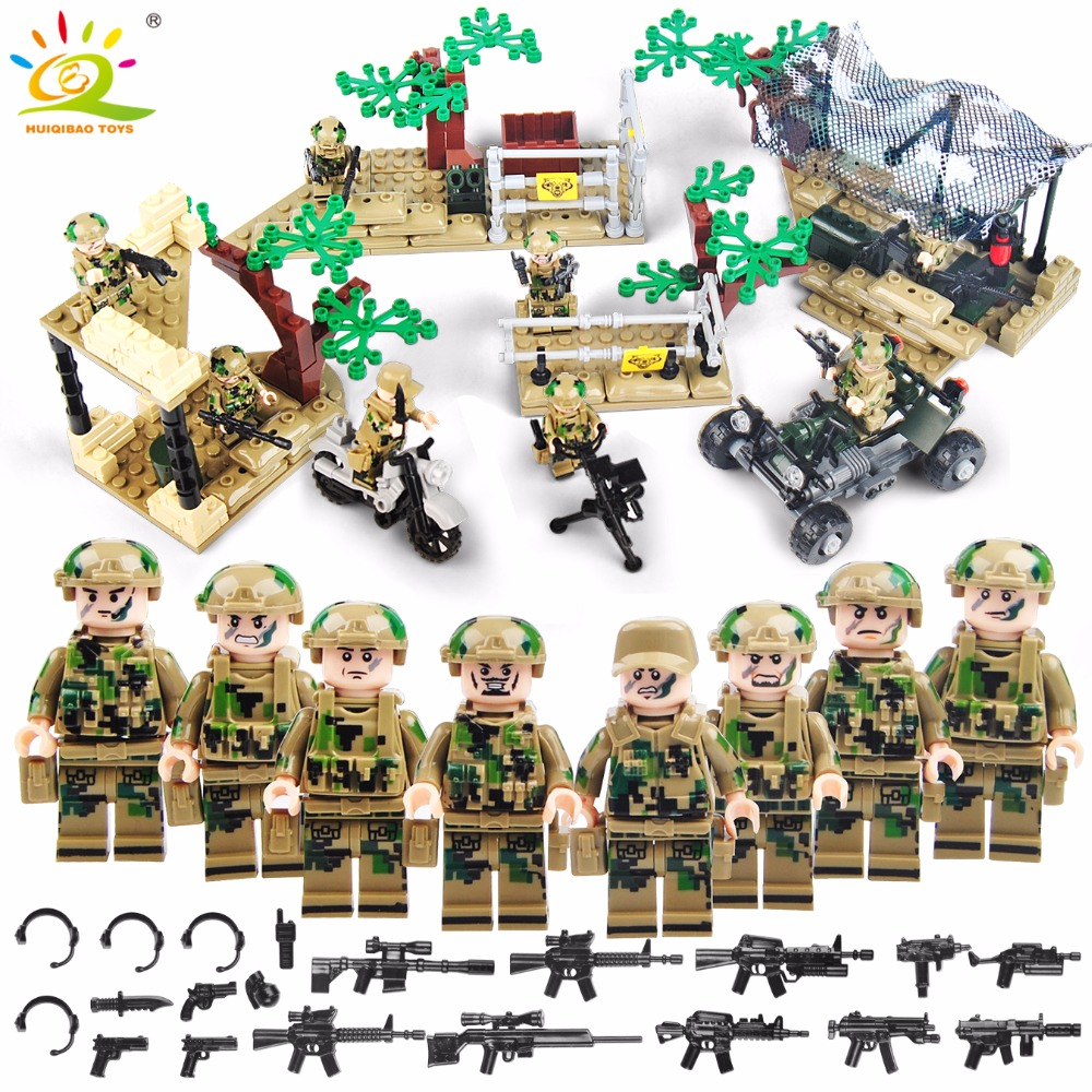 HUIQIBAO TOYS 8pcs Military Soldiers camp Building Blocks Compatible Legoed Army figures with gun WW2 Bricks toys for Children цена