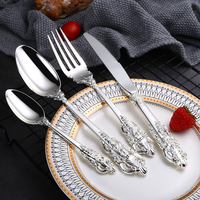 24Pcs/set Luxury Silver Cutlery Set Dinnerware Flatware Set Tableware Silverware Dinner Fork Knife Spoon Drop Shipping