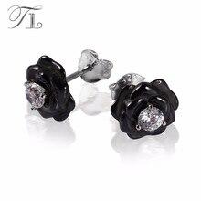 A&N Rose Flower Black&White Ceramic Stud Earrings Setting Zircon Flower Core New Fashion 925 Silver Ceramic Earrings For Women