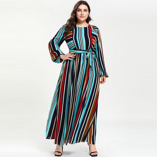 c76737fe22 2019 Women Colorful Stripe Self-Belt Muslim Abaya Lantern Sleeve Big Swing  Hem Maxi Long Dress Robe Musulmane Long M - XXXL 4XL