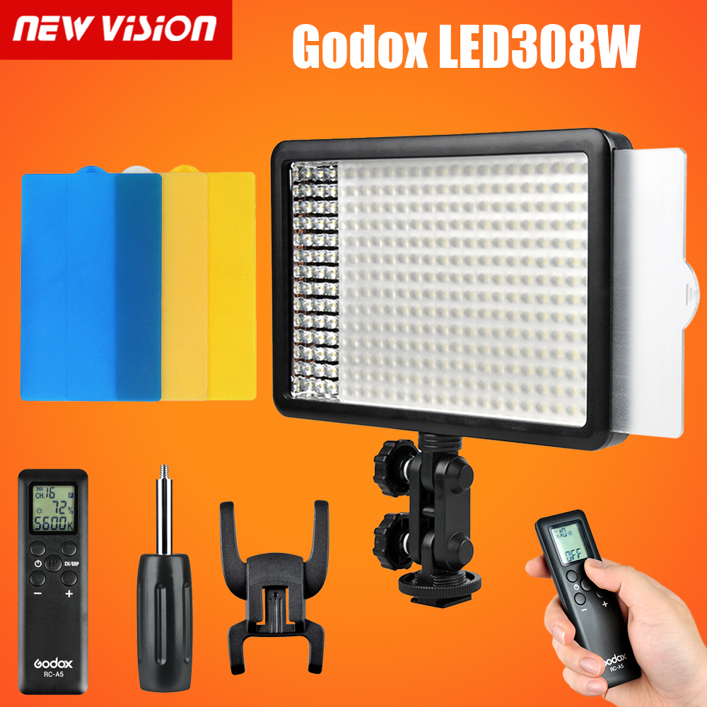 Godox LED 308W Continuous On Camera Video Light Lighting Panel Light 5600K Portable Dimmable for Camcorder DSLR Camera godox professional led video light