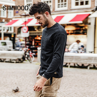 SIMWOOD 2017 Autumn Long Sleeve T Shirt Men 100 Pure Cotton Slim Fit Funny Pocket Fashion