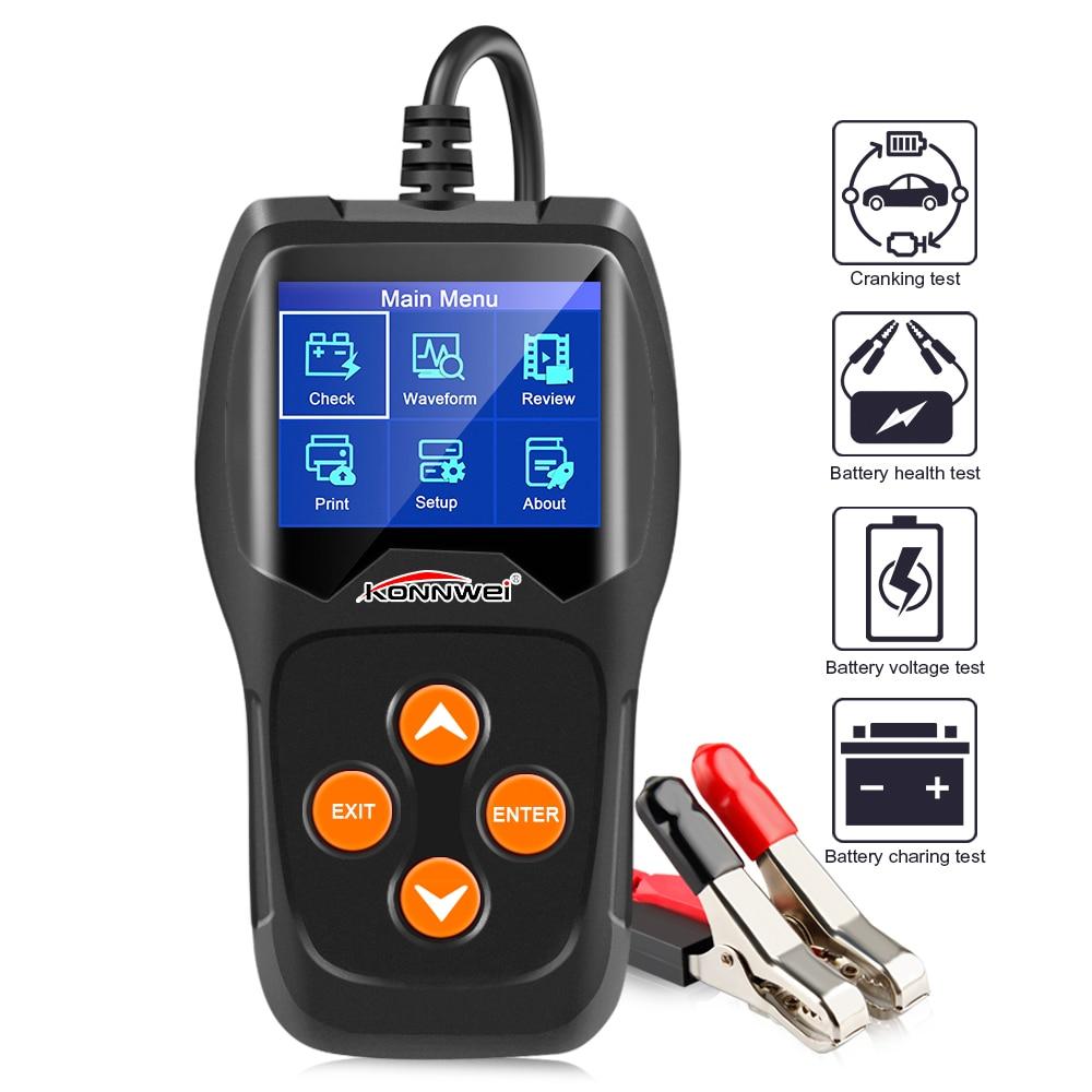 KONNWEI KW600 Auto Battery Analyzer 100 to 2000CCA Car Tester 12V Digital Color Screen Cranking Charging