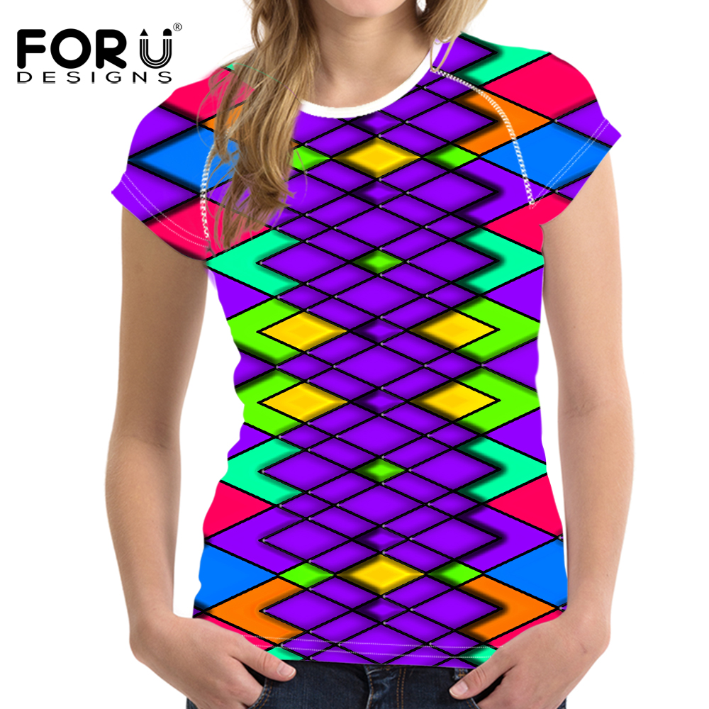FORUDESIGNS Bright Mixed Color T-Shirt til kvinder Stilfuld Lady - Dametøj - Foto 6