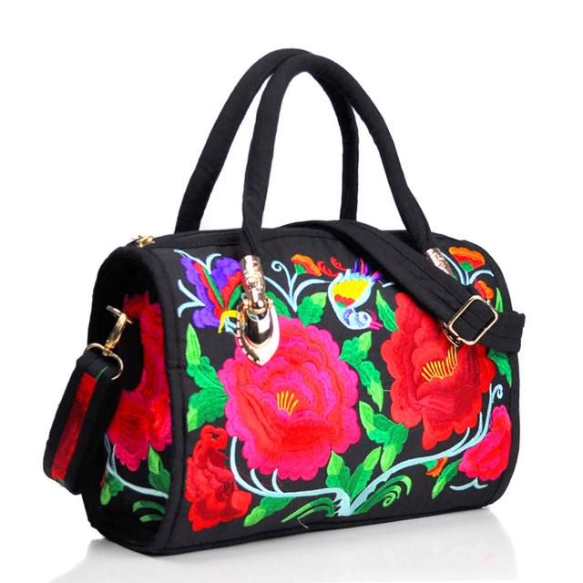 Vintage Women Bag Canvas Flower Embroidered Women Handbag Boho Embroidery Mandala Shoulder Messenger Bag For Woman Girls 5