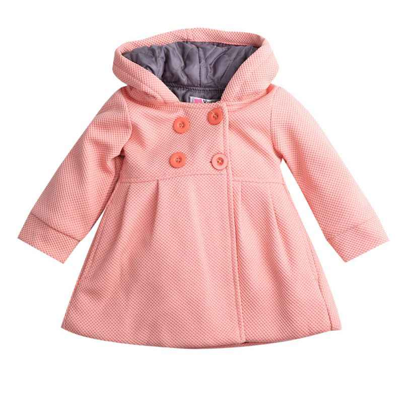 616bc8dae56 Winter Autumn Baby Girls Fall Horn Button Hooded Pea Coat Kids Outerwear  Jacket