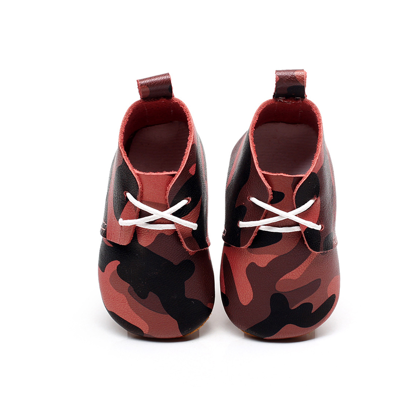 1Pair Baby First Walkers Red Camouflage Pattern Soft Leather Shoes Lace-up Fashion Non-slip Footwear Crib Shoes All Season baby shoes first walkers baby soft bottom anti slip shoes for newborn fashion cute soft baby shoes leather winter 60a1057