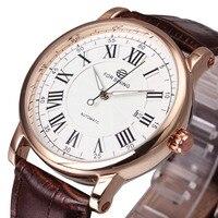 WINNER Luxury Men Automatic Watch Retro Mechanical Man Wristwatch Black Leather Band Luminous Hands Waterproof Canlendar