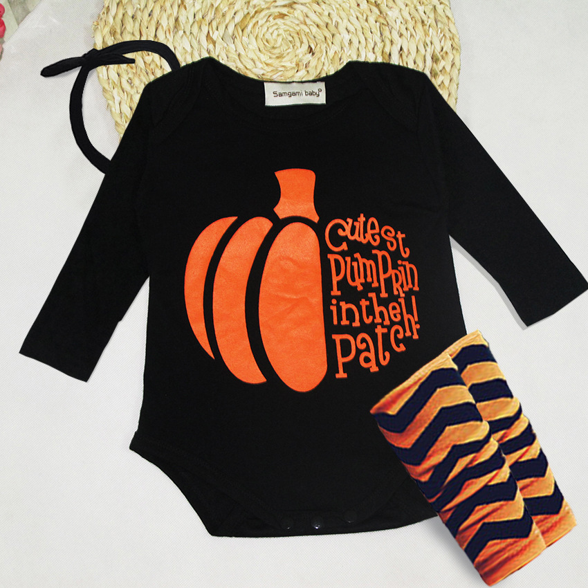 Fashion baby boys girls long sleeve printed pumpkin bodysuit 3pcs set lovely kids casual jumpers infant halloween clothes 17A801